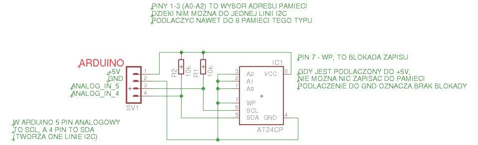 Pamięć AT24CP — podłączenie