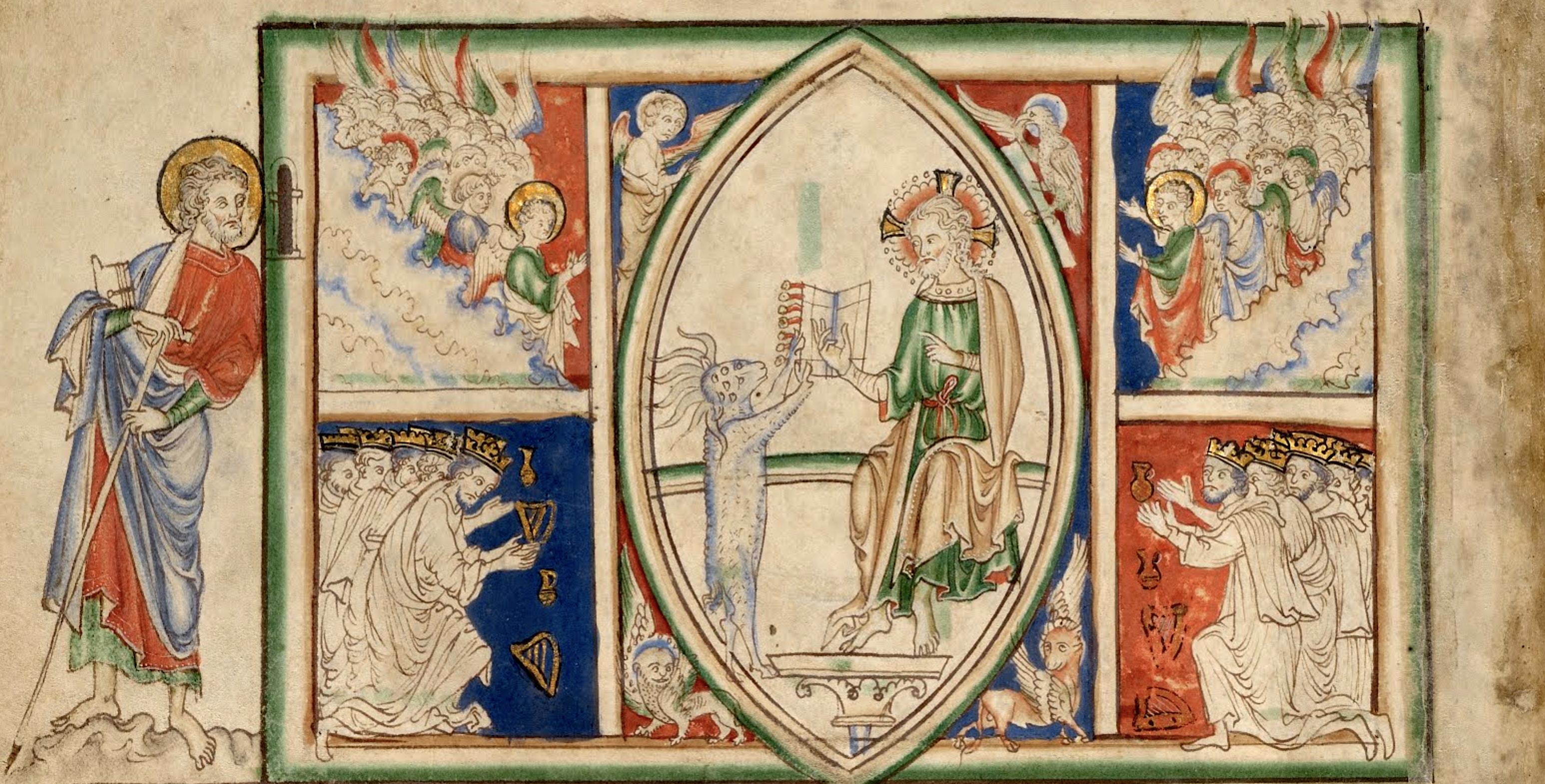 Nieznany Autor. Baranek bierze zapieczętowaną Książeczkę, Aniołowie i Starcy śpiewają Pieść Chwału. Ok 1255-1260